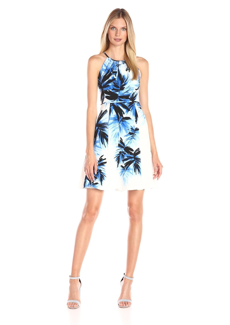 Adrianna Papell Women's Halter Neck Palm Print Fit and Flare