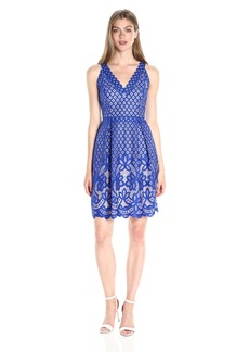 Adrianna Papell Women's Halter Neckline Giselle Lace Fit and Flare Dress