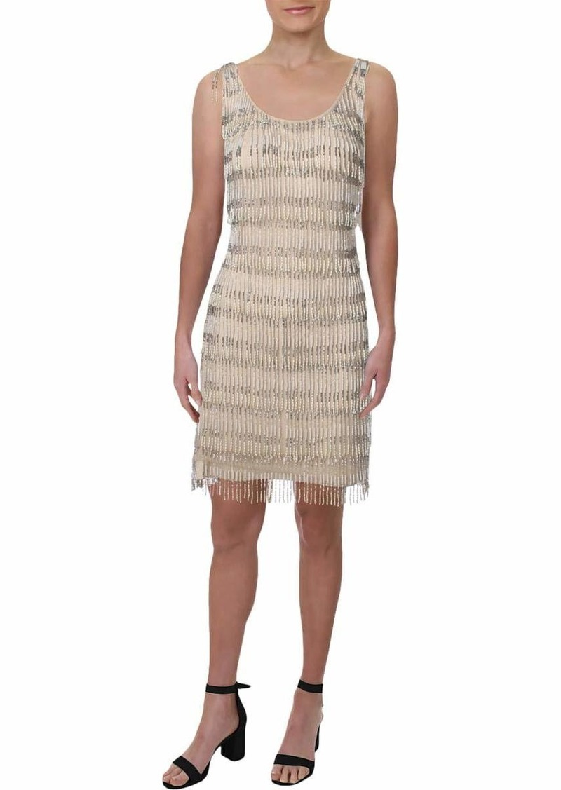 Adrianna Papell Women's Halter Scooped Neckline Short Beaded Dress