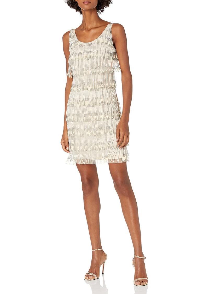 Adrianna Papell Women's Halter Scooped Neckline Short Beaded Dress