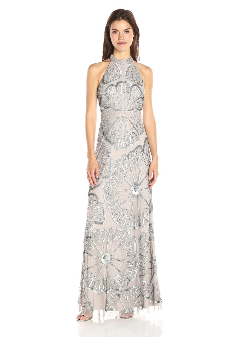 Adrianna Papell Women's Halter Turleneck Beaded Gown