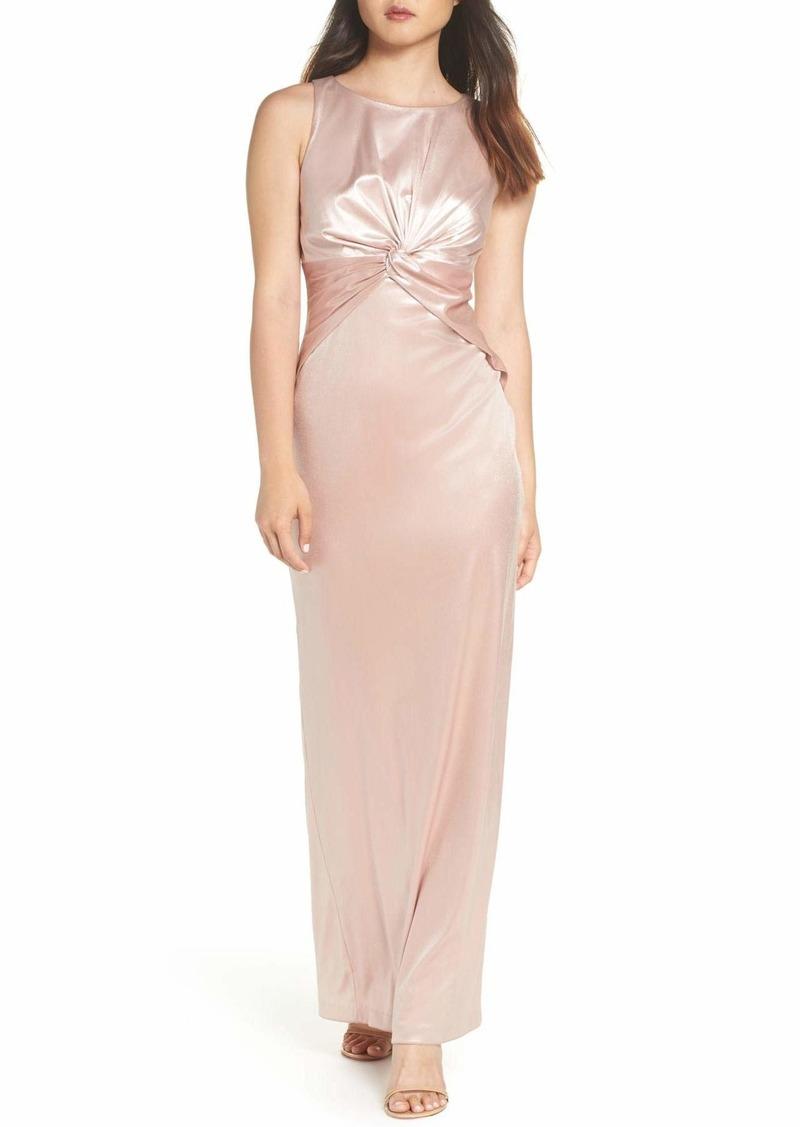 Adrianna Papell Women's Halter Twisted Waist Column Long Dress