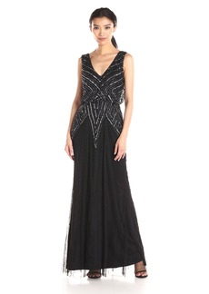 Adrianna Papell Women's Halter V-Neck Beaded Blouson Gown