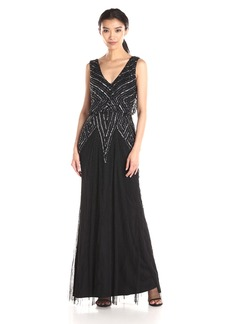 Adrianna Papell Women's Halter V-Neck Beaded Blouson Gown