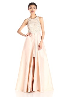 Adrianna Papell Women's Halter Gown with Taffeta Skirt