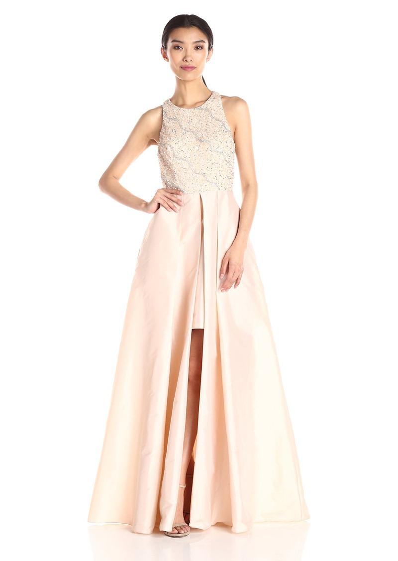 Adrianna Papell Women's Halter with Taffeta Skirt Gown