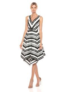 Adrianna Papell Women's Handkercheif Skirt Dress Black/Ivory