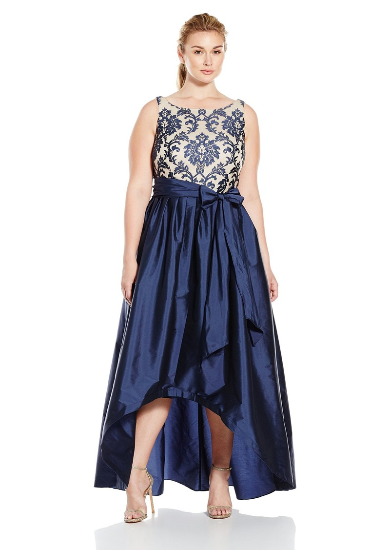 Adrianna Papell Women's High Low Gown with Sequin Embroidered Bodice and Taffeta Skirt