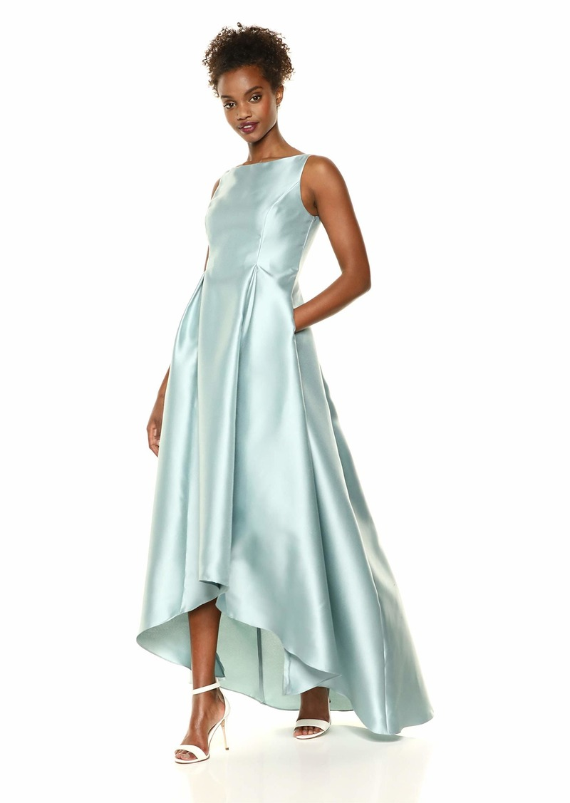 Adrianna Papell Women's High Low Mikado Ball Gown with V-Back Aqua dust