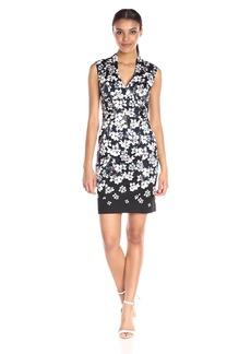 Adrianna Papell Women's High-Neck Printed Stretch-Cotton Sheath Dress