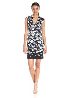 Adrianna Papell Women's High-Neck Printed Stretch-Cotton Sheath Dress