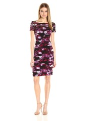 Adrianna Papell Women's Illisusion Yoke Banded Dress