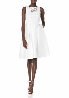 Adrianna Papell Women's Illusion Guipure Mikado Dress