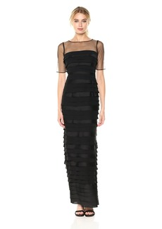 Adrianna Papell Women's Illusion Sleeve Long Shutter Tuck Gown