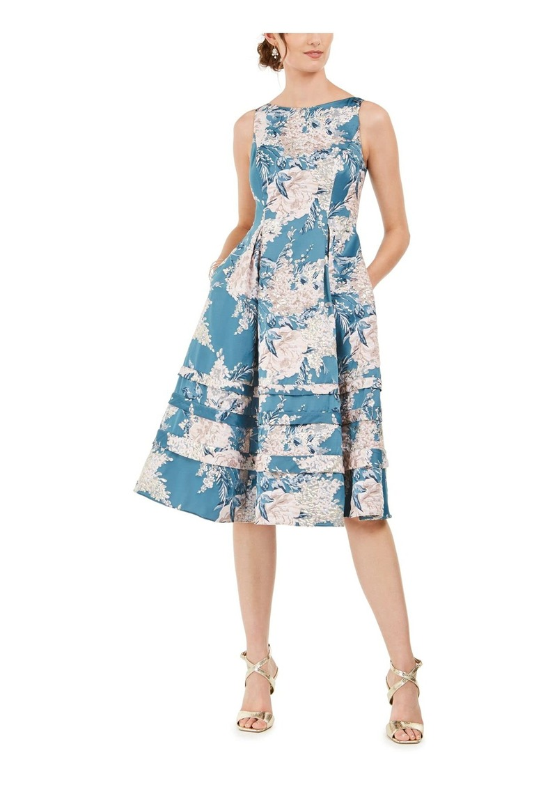 Adrianna Papell Women's Jacquard MIDI Dress TEAL MULTI