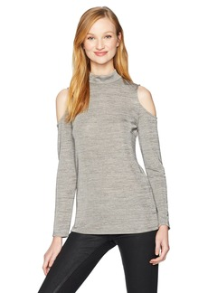 Adrianna Papell Women's Jaspe Mock Turtleneck Long Sleeve Cold Shoulder
