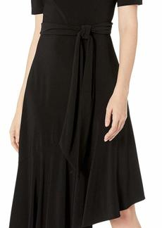 Adrianna Papell Women's Jersey Asymmetric Ruffle Dress