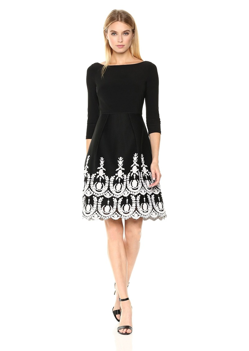 Adrianna Papell Women's Jersey Top with Mesh Bottom Flare Dress with Embroidery