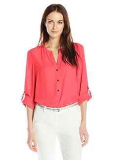 Adrianna Papell Women's Knit Back 3/4 Sleeve Equipment Shirt  M