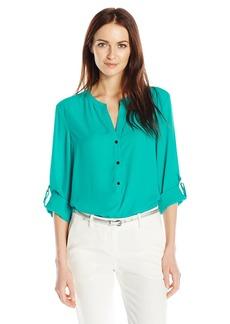 Adrianna Papell Women's Knit Back 3/4 Sleeve Equipment Shirt  XL