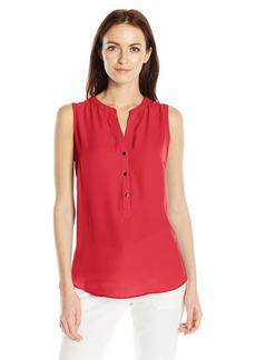 Adrianna Papell Women's Knit Back Sleeveless Equipment Shirt  L