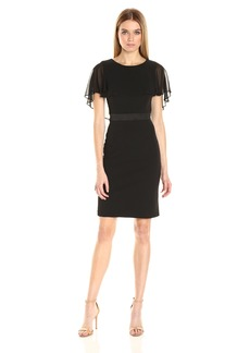 Adrianna Papell Women's Knit Crepe Caplet Sheath Dress