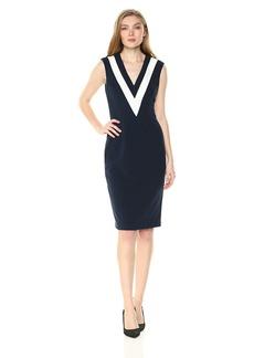 Adrianna Papell Women's Knit Crepe Colorblock Sheath Dress