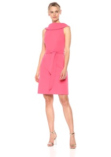 Adrianna Papell Women's Knit Crepe ROLL Neck A-LINE with TIE Dress