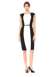Adrianna Papell Women's Knit Crepe Sheath Dress Black/Ivory