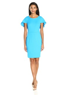 Adrianna Papell Women's Knit Crepe Sheath Dress with Shoulder Cape