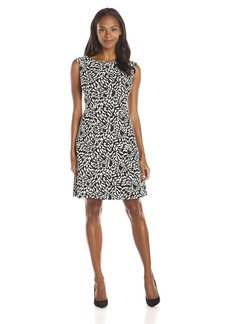 Adrianna Papell Women's Knit Fit and Flare Graphic Dress Black/Ivory