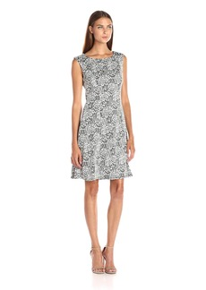 Adrianna Papell Women's Knit Jacquard Fit and Flare Black/Ivory