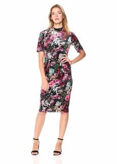 Adrianna Papell Women's La Vie En Rose Floral Printed Velvet Midi Dress