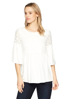 Adrianna Papell Women's Lace and Knit Top