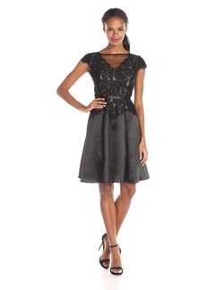 Adrianna Papell Women's Lace Combo Fit and Flare Dress