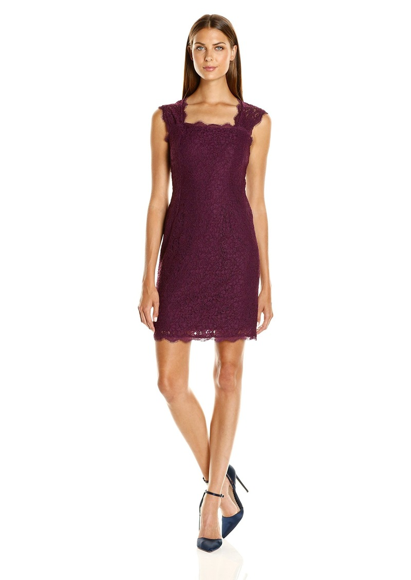 Adrianna Papell Women's Lace Dress with Cap Sleeves in a Sheath Silhouette and Square Neckline