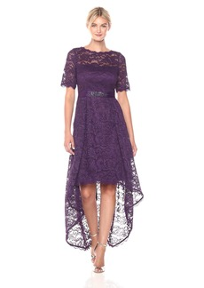 Adrianna Papell Women's Lace Hi Low Elbow Sleeve Gown