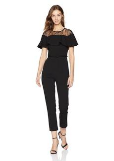 Adrianna Papell Women's LACE Illusion Neckline Short Sleeve Jumpsuit