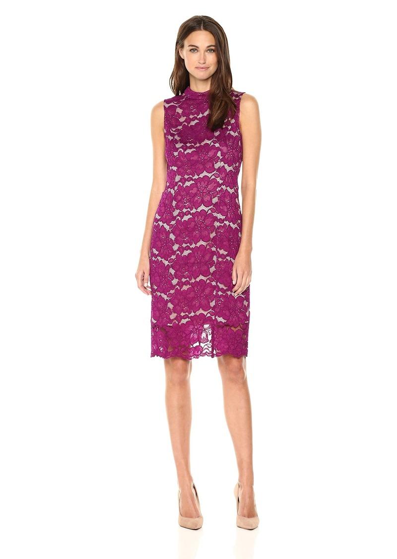 Adrianna Papell Women's Lace Mock Neck Sheath Dress