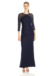 Adrianna Papell Women's Lace Modified Mermaid Gown