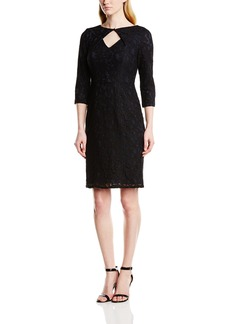 Adrianna Papell Women's Lace Orgami Neckline Dress