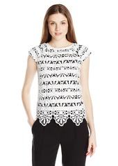 Adrianna Papell Women's Lace Overlay Top W/Stripe Udn