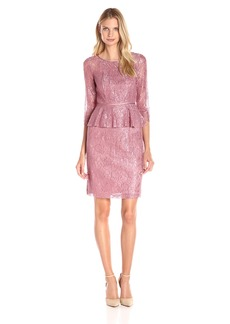 Adrianna Papell Women's Lace Peplum Dress