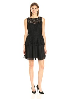 Adrianna Papell Women's Lace Peplum Dress W/ Full Netted Skirt