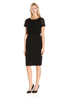 Adrianna Papell Women's Lace Pop Over Banded Dress