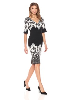 Adrianna Papell Women's Lace Print V-Neck Sheath