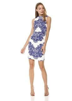 Adrianna Papell Women's LACE Printed Mock Neck Sleeveless Dress