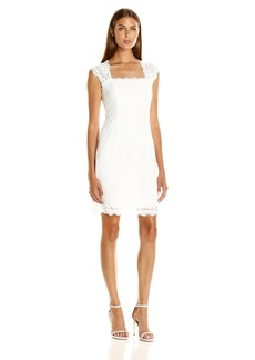Adrianna Papell Women's Lace Sheath Dress with Cap Sleeves