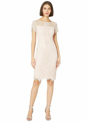 Adrianna Papell Women's Lace Sheath Dress with Sheer Short Sleeves