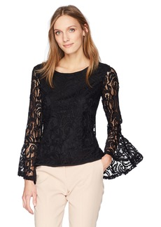 Adrianna Papell Women's Lace Top with Dramatic Bell Sleeve